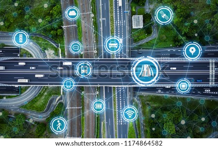 Social infrastructure and communication technology concept. IoT(Internet of Things). Autonomous transportation.  #1174864582