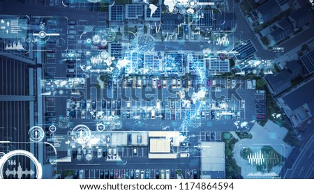 Social infrastructure and communication technology concept. IoT(Internet of Things). Autonomous transportation.  #1174864594