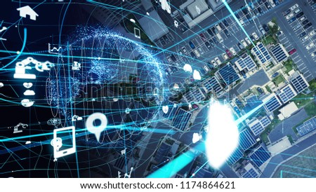 Social infrastructure and communication technology concept. IoT(Internet of Things). Autonomous transportation.  #1174864621