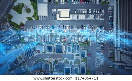Social infrastructure and communication technology concept. IoT(Internet of Things). Autonomous transportation.  #1174864711