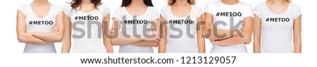 social issue concept - group of women in white t-shirts with metoo hashtag in solidarity with movement against sexual assault and harassment