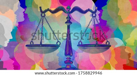 Social justice together as a crowd of diverse people with a law symbol representing community legislation and equal rights or legal lawyer icon with 3D illustration elements. Photo stock ©