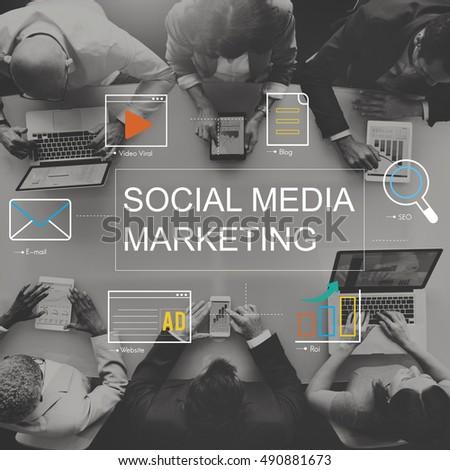 Social Media Advertisement Connection Concept #490881673