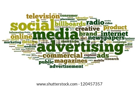 Social Media Advertising concept in tag cloud on white background
