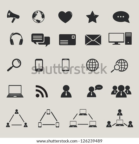 social media and computer communication icons set. raster version, vector file also available in gallery