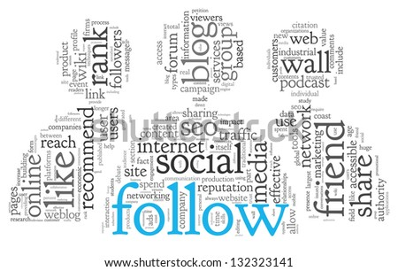Social media and follow concept in word tag cloud on white background
