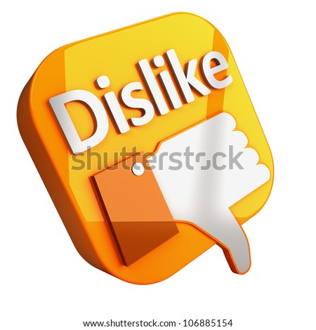 Social media and network concept: orange Dislike button isolated on white background 3d render