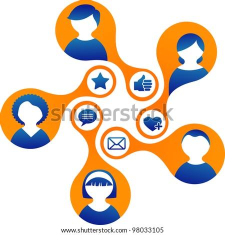 Social Media and network illustration, vector