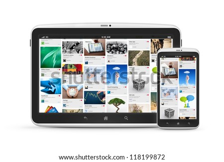 Social media application on modern digital tablet with mobile smartphone. Isolated on white. High quality and very detailed realistic object.