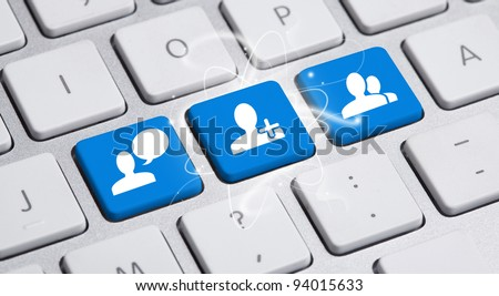 Social media button on a keyboard