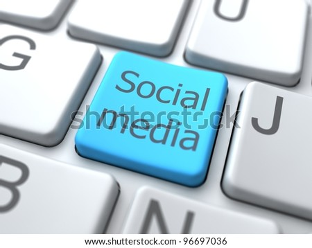 Social Media- Button on Keyboard.3D Concept.