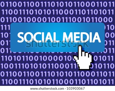 Social media Button with Hand Cursor. Vector version also available in my portfolio.