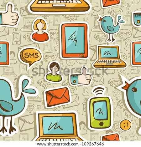 Social media cartoon icons colorful seamless pattern .