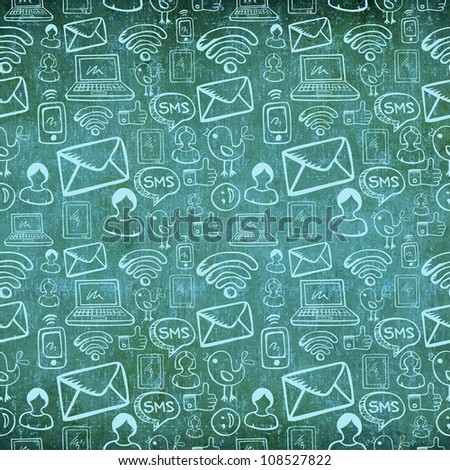 Social media cartoon icons seamless pattern in charcoal vintage grunge background.