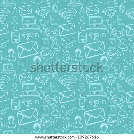 Social media cartoon icons seamless pattern over sky blue background.