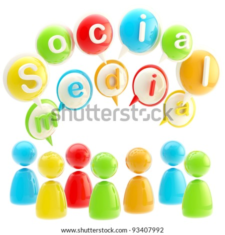 Social media colorful emblem made of text bubbles and symbolic human figures isolated on white