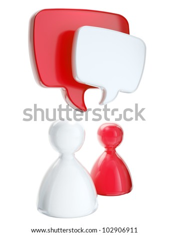 Social media, communication and social connection as human symbolic figures with text bubbles isolated on white