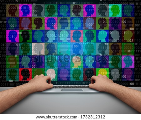 Social media communication and webcam conference or video conferencing as a person having a business meeting online or distance learning as a virtual school class with 3D illustration elements.