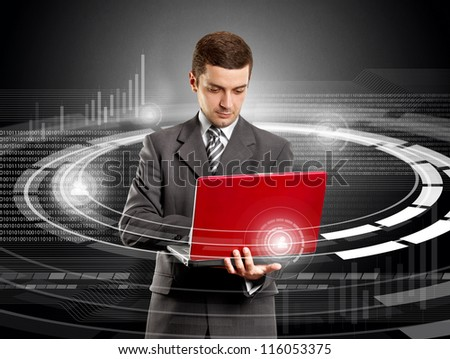 Social media concept, business man with laptop in his hands