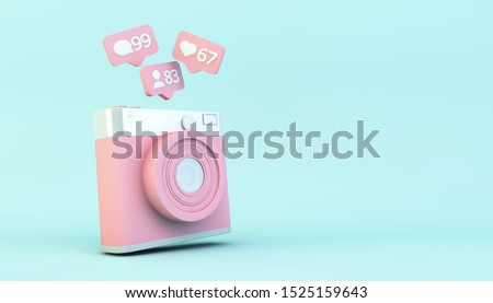 social media concept: camera with notifications 3d rendering