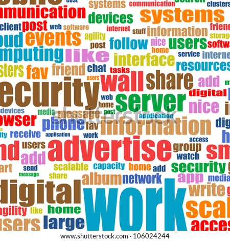 Social media concept in tag cloud background. Raster