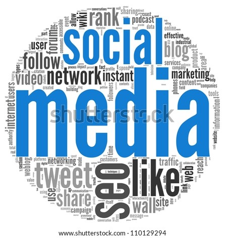 Social media concept in word tag cloud on white