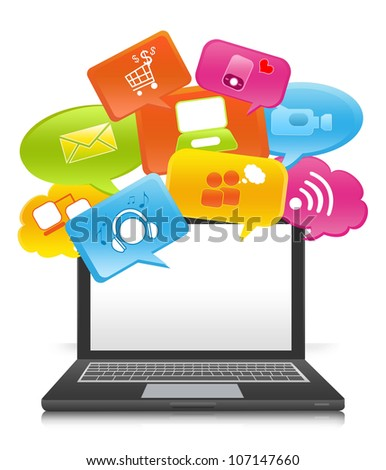 Social Media Concept on Computer Notebook With Some Space For Text Message on Screen Isolate on White Background