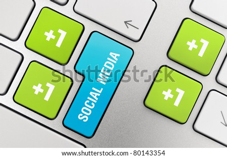 Social media concept on modern keyboard.