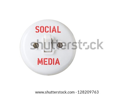 social media concept,vintage switch, isolated - stock photo