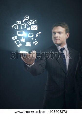 social media content in hand of businessman