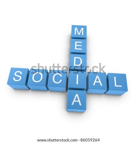 Social media crossword on white background, 3D rendered illustration