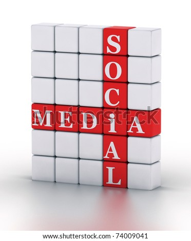 Social Media. cubes crossword series 3D