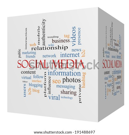 Social Media 3D cube Word Cloud Concept with great terms such as network, follow, content and more.