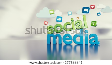 Social media 3D text with icons reflecting on a glossy floor and space on the left.