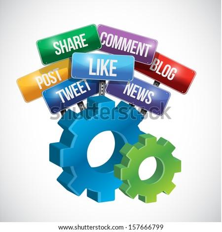 social media gear sign illustration design over white