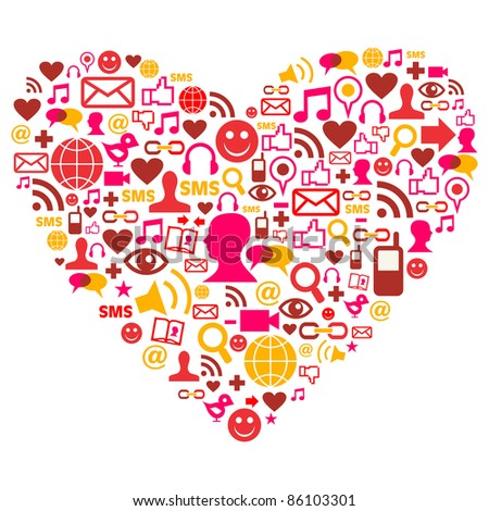 Social media heart shape made with isolated icons