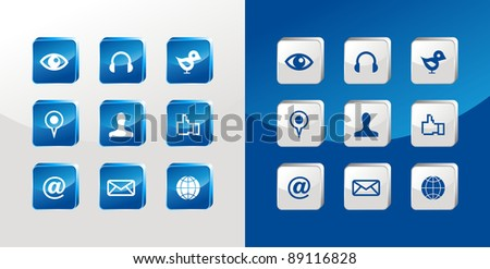 Social media icons glass set over light and dark background.
