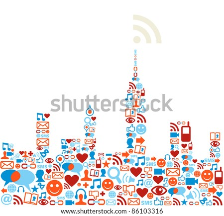 Social media icons set in cityscape shape. - stock photo