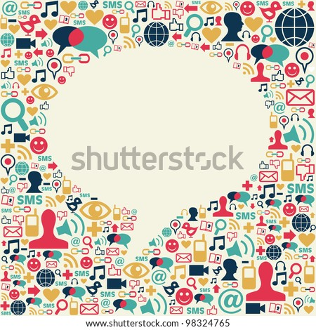 Social media icons texture in talk bubble shape composition background.