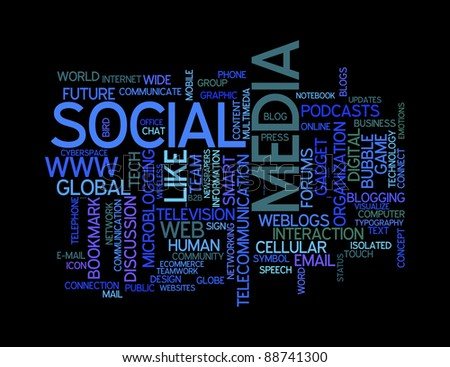 social media info-text graphics and arrangement concept on black background (word clouds)