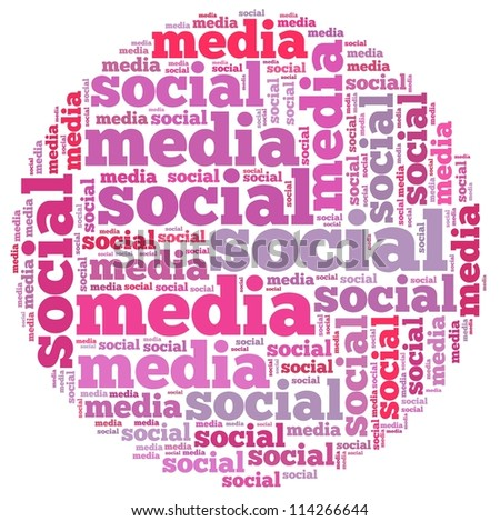 Social media info-text graphics and arrangement concept on white background (word cloud)