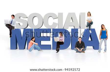 Social media isolated over a white background - 3D text