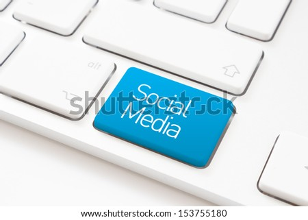 Social media key on a white keyboard