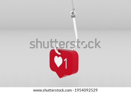Social Media Like Button in a Fish hook as a bait - 3D Illustration Stock photo ©