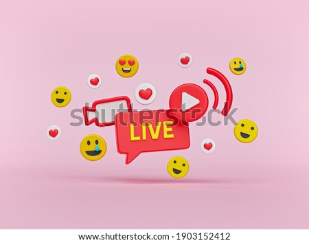 Social media Live streaming concept with hearts and emoji icons. minimal design. 3d rendering
