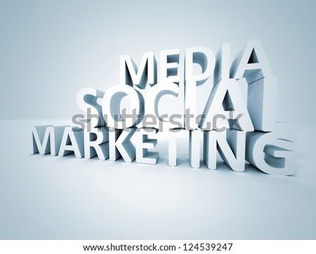 Social media marketing 3d text - stock photo