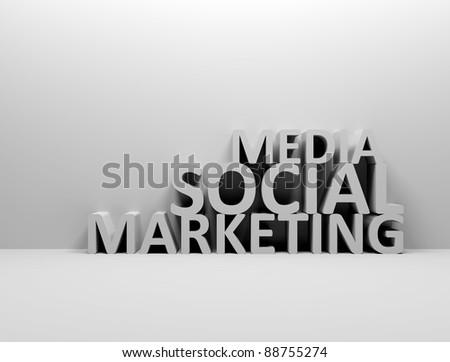 Social media marketing 3d words