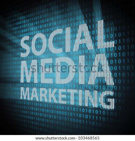 Social Media Marketing sign on lcd screen close up. Concept illustration.
