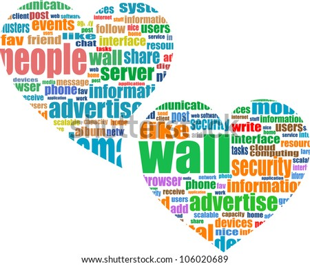 Social media marketing - word cloud in heart - raster
