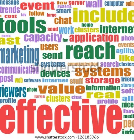 Social media marketing word cloud, raster